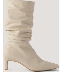 na-kd shoes boots med fyrkantig tå - beige