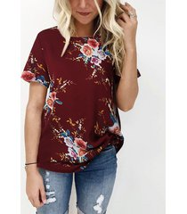 camiseta burdeos con cuello redondo y flores al azar cuello