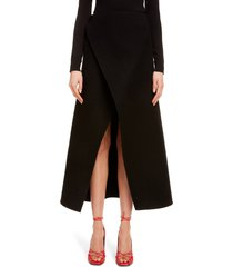 women's givenchy wrap front wool midi skirt, size 4 us - black