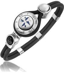 forzieri designer men's bracelets, windrose stainless steel and rubber bracelet