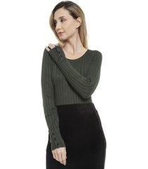 sweater tricot det punos verde - calce ajustado