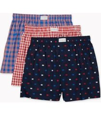 tommy hilfiger men's classic woven boxer 3pk blue/red/white - s