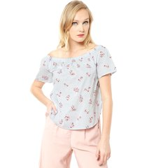 blusa cille mini flores off shoulder celeste vero moda - calce regular
