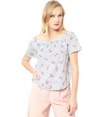 blusa cille mini flores off shoulder celeste vero moda - calce regular