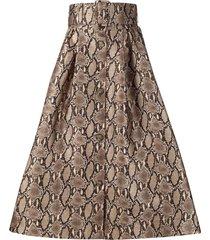 msgm belted-waist snakeskin-print midi skirt - neutrals