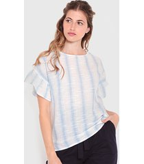 blusa wados m/c list lino celeste - calce regular