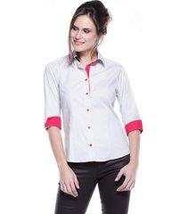 camisa intens manga 3/4 algodão liso branco - kanui