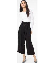 mk pantalone culotte con pieghe e cintura - nero (nero) - michael kors