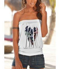 camiseta sin mangas sin tirantes con estampado de plumas blancas yoins