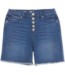 style & co button-fly fray-hem denim shorts, created for macy's