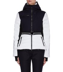 'kat' belted contrast wool panel hooded puffer ski jacket
