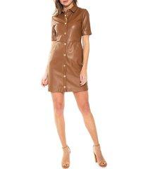 alexia admor women's janine faux leather shirtdress - black - size 6