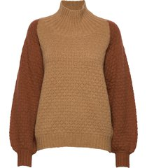 caress cable sweater turtleneck polotröja brun designers, remix