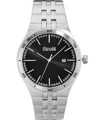 orologio solo tempo con cassa e cinturino in acciaio, quadrante nero - 1661124 per uomo
