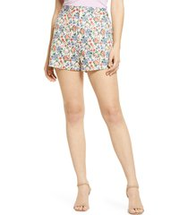 endless rose floral high waist shorts, size small in ivory multi at nordstrom