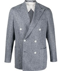 barba double-breasted fine knit blazer - blue