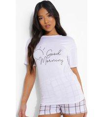 petite 'good morning' pyjama set met shorts, white