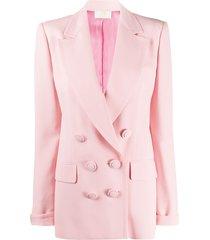 sara battaglia double-breasted boyfriend blazer - pink