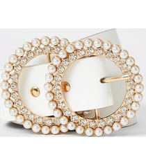 river island womens white pearl and diamante double ring belt