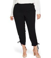 plus size women's cece side ruched pants, size 3x - black