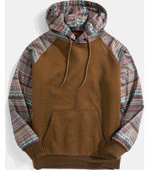 sudadera con capucha casual de manga raglán con estampado tribal vintage para hombre