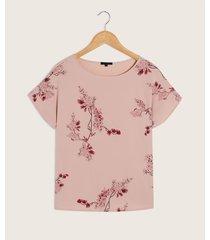 camiseta de estampación tipo floral y fondo unicolor