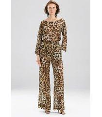 couture animal burnout pants robe, women's, beige, silk, size m, josie natori