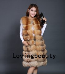lovingbeauty long golden island fox fur waistcoat plus size gold fox fur gilet