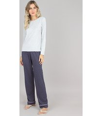 pijama feminino canelado manga longa cinza mescla claro