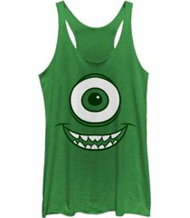 fifth sun disney pixar women's monsters inc. mike wazowski eye tri-blend tank top