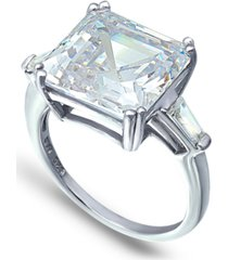 cubic zirconia asscher cut center stone ring in fine silver plate