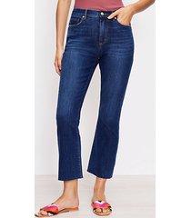 loft fresh cut high rise kick crop jeans in pure dark indigo wash