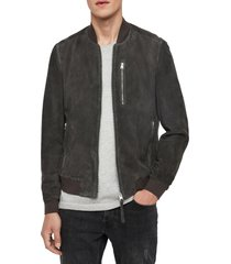 men's allsaints kemble suede bomber jacket, size medium - grey