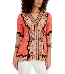 jm collection petite printed stud-detail tunic, created for macy's
