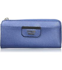 billetera mujer guess bobbi slim zip wallet vg642252-azul