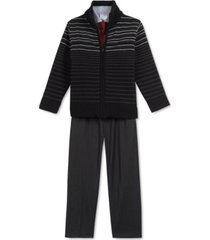 calvin klein toddler boys 4-pc. striped sweater, shirt, tie & pants set