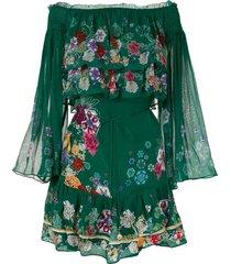 camilla emeralds orbit tiered ruffle dress - green