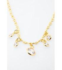 cass cubic zirconia crop necklace - gold