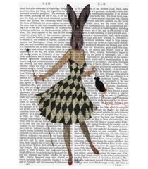 "fab funky rabbit in black white dress canvas art - 15.5"" x 21"""