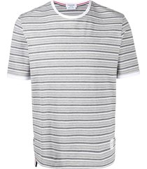 thom browne bar stripe short-sleeve ringer t-shirt - grey