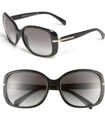 prada 57mm rectangular sunglasses in black/grey gradient at nordstrom