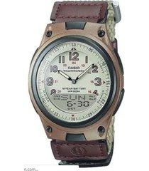 reloj casio aw_80v_5bv marrón textil
