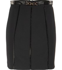 elisabetta franchi mini skirt with zip on the back and eco-leather inserts