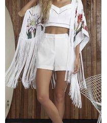 blusa com alças top cropped branco off white - lez a lez