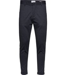 cropped pant - knitted checked casual byxor vardsgsbyxor blå lindbergh