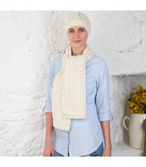 women's honeycomb aran hat & scarf set cream