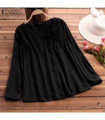 zanzea vendimia de las mujeres camisa étnica tops casuales redondos hacia abajo del cuello del lazo de la blusa de verano -negro