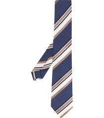 borrelli striped pattern pointed tie - blue