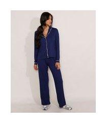 pijama manga longa com vivo contrastante azul marinho
