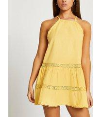river island womens yellow tiered halter mini swing beach dress